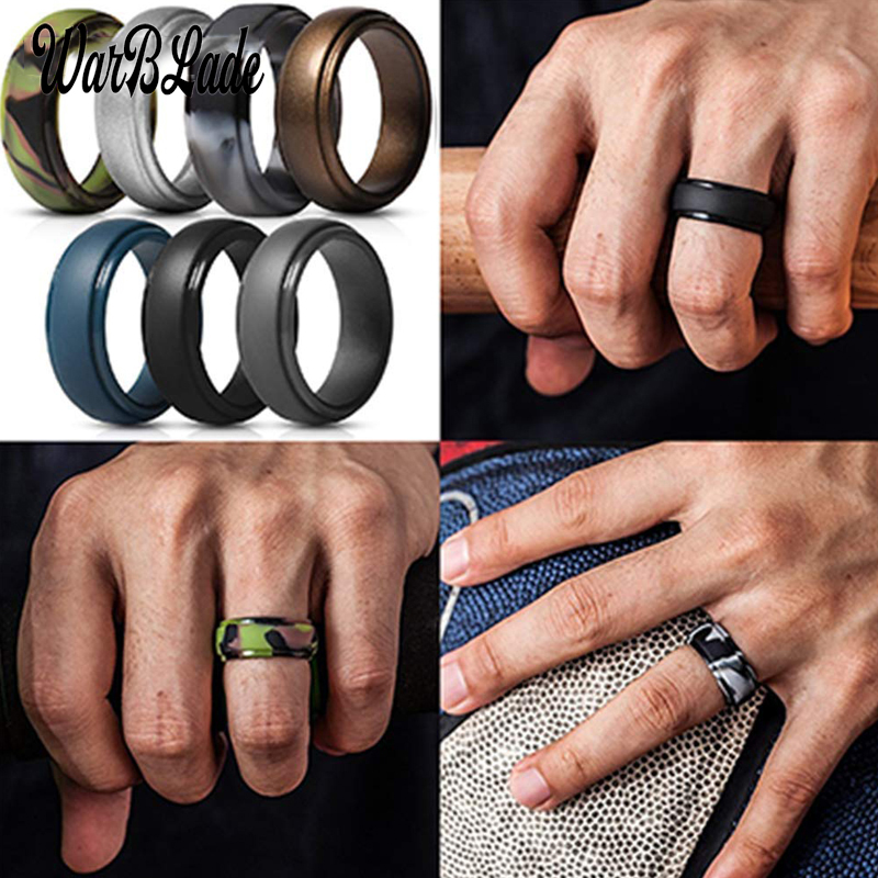 7PCS Men/'s//Women/'s Silicone Ring Wedding Engagement Band Hypoallergenic Jewelry