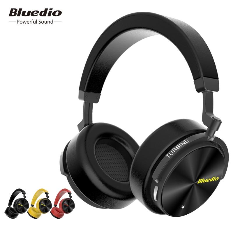 Bluedio T5 HiFi Active Noise Cancelling casque bluetooth sans fil casque intra-auriculaire avec microphone pour les téléphones et musique