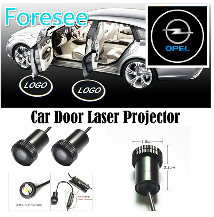 Foresee (For OPEL) 2pcs Ghost Shadow Logo welcome Car LED Door Light Laser Courtesy Slide Projector logo Emblem light