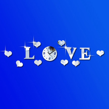 Creative Silver Color Acrylic 3D Mirror Effect LOVE Letter Decal Wall Sticker Clock Mechanism Home Decoration Adesivo De Parede
