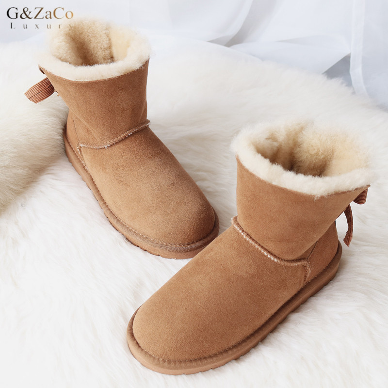 G&Zaco Luxury Sheepskin Snow Boots Sweet Bow Suede Women Winter Boots Ankle Snow Boots Flat Female Short Snow Boots Natural Wool suede ankle snow boots