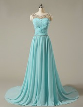 Cheap In Stock Bridesmaid Dress Boat Neck Sleeveless Silvery Beaded Blue Chiffon A Ling Long Prom Dresses 2017
