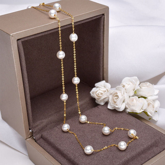 [YS] 18K Gold 5-5.5mm White Pearl Necklace China Freshwater Pearl Necklace Jewelry 6