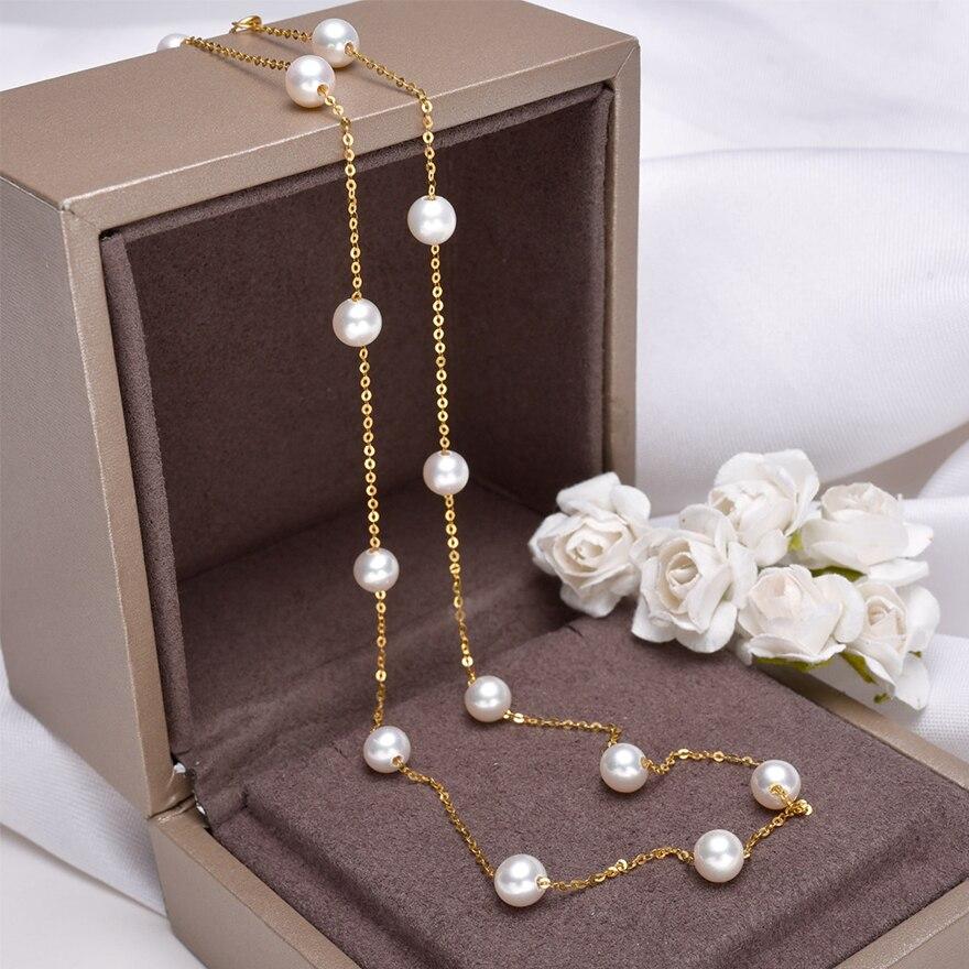 [YS] oro de 18K de 5 a 5,5mm collar de perlas blancas de China collar de perlas de agua dulce - 4