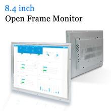 Monitor industrial do computador do diodo emissor de luz do quadro aberto do escudo do metal de 8.4 polegadas com saída do av de vga hdmi dvi