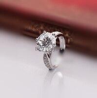 Новый оригинальный 1 карат 6 зубцами чистого серебра моделирование NSCD SONA человек сделал кольцо с бриллиантом американский размер от 4 до 10.5