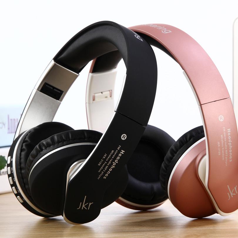 Earphones Bass Stereo Headphones Head Wireless Bluetooth Headset JKR-218B with Mic TF Music FM for IPhone Samsung PC Laptop aj 81 wireless bluetooth v2 1 mp3 speaker w tf fm micro usb for iphone more black white