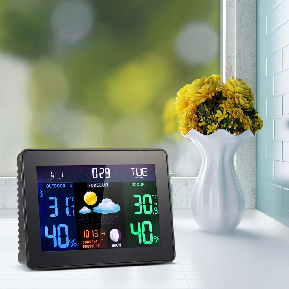 Digital LCD Wireless Weather Station Clock Alarm humidity meter Indoor Outdoor Thermometer Hygrometer Barometer Calendar wireless weather station digital color lcd thermometer forecaster clock indoor outdoor humidity meter with remote sensor 50% off