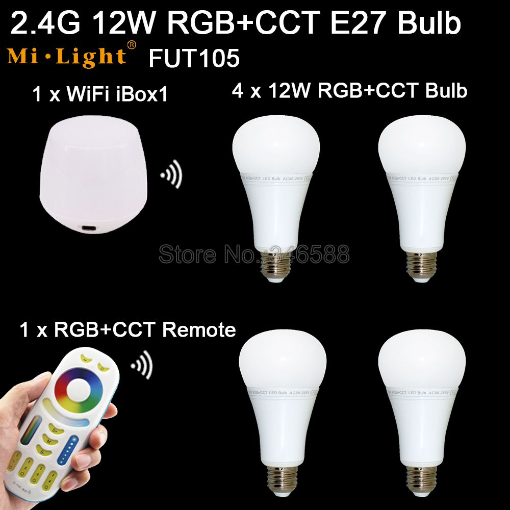 4x Mi.Light 12W RGB + CCT E27 LED Bulb Spotlight AC Input FUT105 +1x WiFi iBox1 Lamp +1x 2.4G Wireless RF 4-Zone Touch Remote