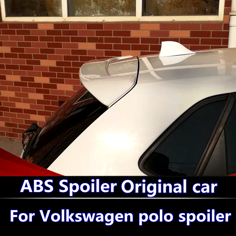 For VW Polo 2010 2016 Spoiler ABS Material Car Rear Wing Primer Color VW polo Rear Spoiler For Volkswagen new Polo Spoiler