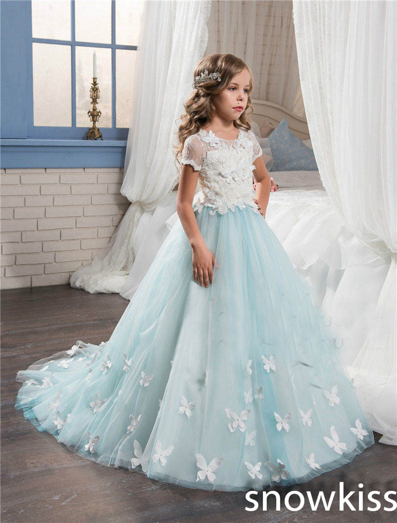 2017 sky blue vintage communion dress with lace appliques long tail tulle ball gown for girl party pageant gowns ball gown sky blue open back with long train ruffles tiered crystals flower girl dress party birthday evening party pageant gown