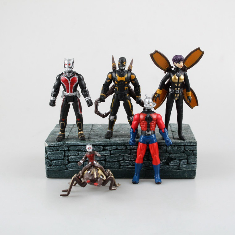 5PCS 12CM Q Version Super Hero Ant-Man Action Figures PVC Brinquedos Doll Marvel Anime Figure Collectible Juguetes Model Toy marvel deadpool funko pop super hero pvc ow batman action figure toy doll
