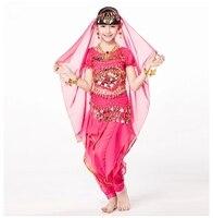 Children Indian Dance 5 Piece Set Costume Top Belt Pants And Head Pieces Coin Bracelets Bollywood