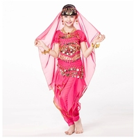 Children Indian Dance 5 Piece Set Costume Top Belt Pants And Head Pieces Coin Bracelets Bollywood