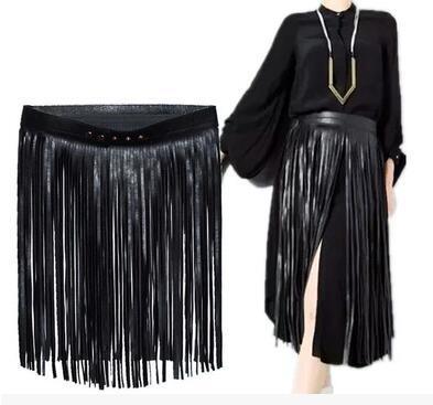 Мода normic широкий пояс женский большой артефакт кисточка черный пояс поясом осенью и зимой кожаные штаны черный
