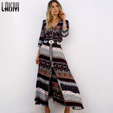 LAISIYI 2017 Women New Sexy Split Boho Print Dress Vintage Strappy Long Summer Causal Maxi Beach Dresses Vestidos ASDR20103