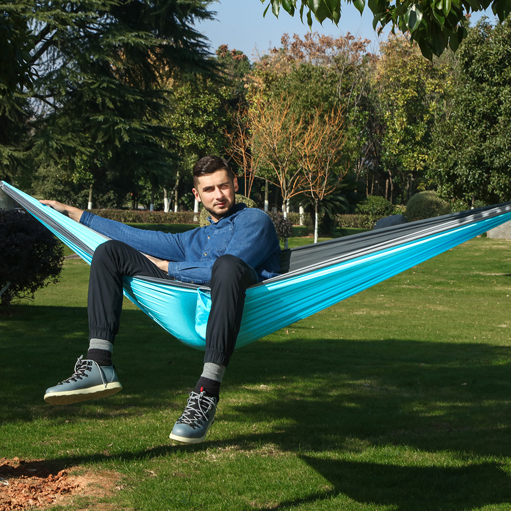 Image 2 - Ultralight Parachute Hammock 210T Nylon Durable Portable Outdoor Hanging Hamac For Backyard Double Person Hamak-in Hammocks from Furniture