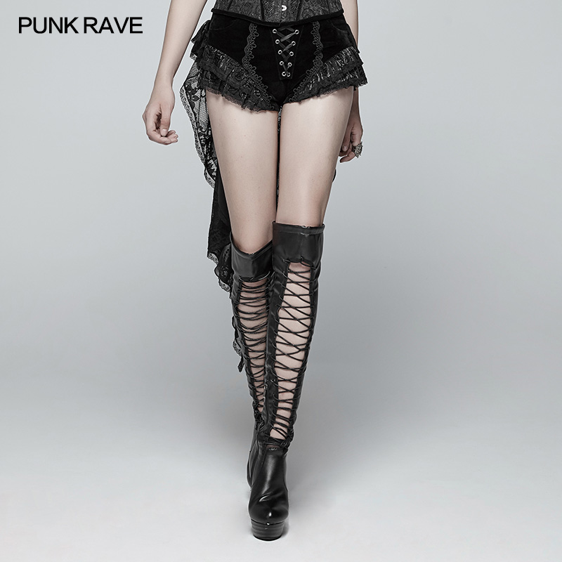 Punk Rave Gothic Fashion Novelty Swallow Tail Lacing Lace Victorian Sexy Palace Women Shorts Skirt Visual Kei WK354 - 2