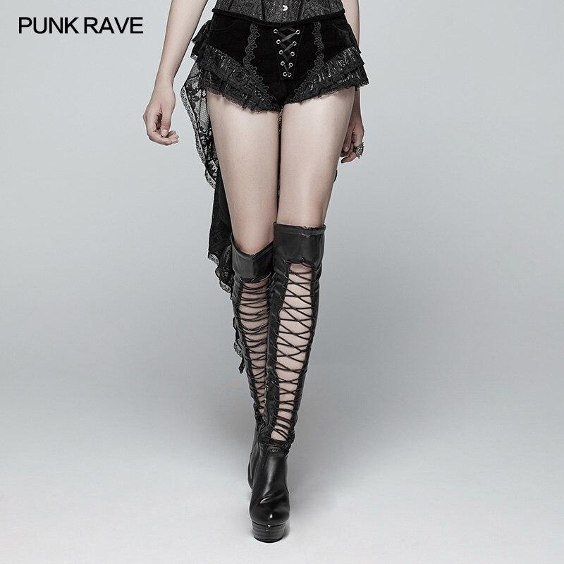 Punk Rave Gothic Mode Neuheit Swallow Tail Schnürung Spitze Viktorianischen Sexy Palace Frauen Shorts Rock Visuelle Kei WK354 - 2