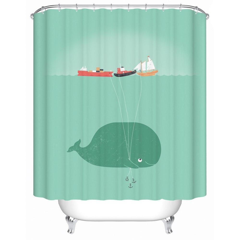 Best Gift Giraffe Riding Shark Waterproof Fabric Shower Curtain Bathroom  Products Shower Curtains Bathroom Curtain Y 133 In Shower Curtains From  Home ...