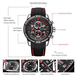 Image 5 - Megir reloj de cuarzo con batería y cronógrafo analógico para hombre, pulsera deportiva, brazalete de silicona negro, cronómetro, 2045G