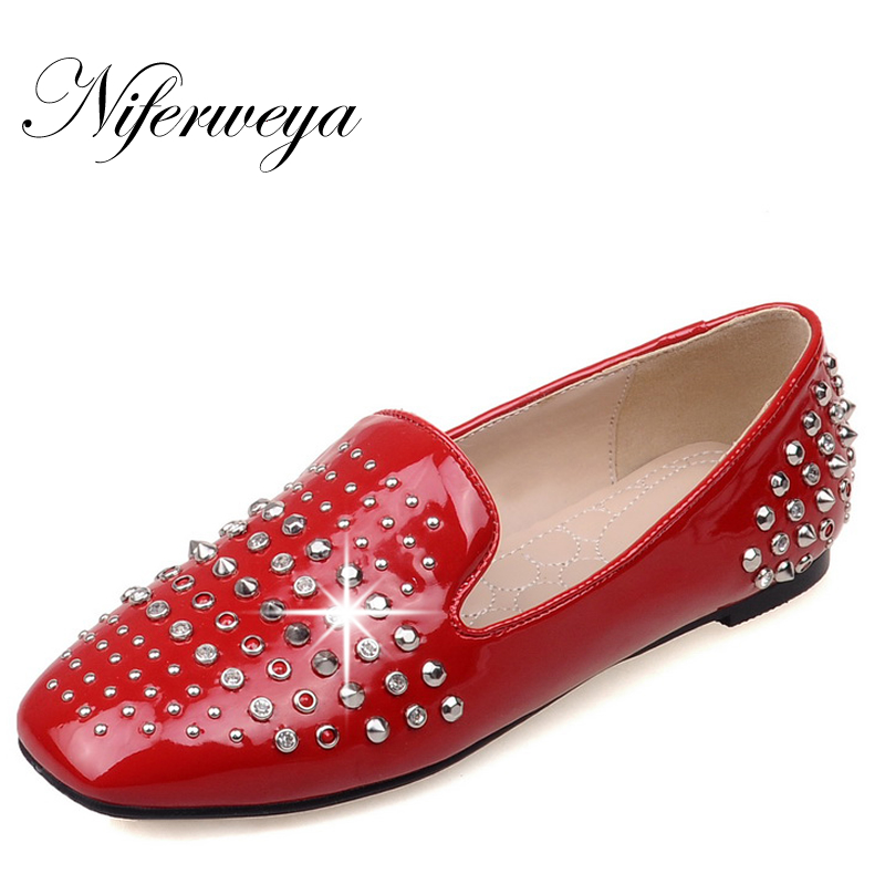 New Spring/Autumn Women flats Plus Size 32-48 solid PU Rivets decoration flat shoes fashion Slip-On loafers zapatos mujer hot sale shoes new fashion spring women flats shoes bow toe slip on flat women s shoes plus size 36