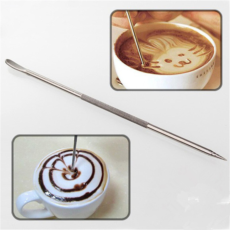 Stainless Steel Coffee Latte Cappuccino Decorating Tool Foam Art Pen China Mainland