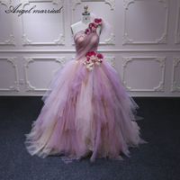 Angel married fashion Quinceanera Dress one shoulder flowers Ball Gown Sweet 16 Dress Turquoise Quinceanera Dresses 2019
