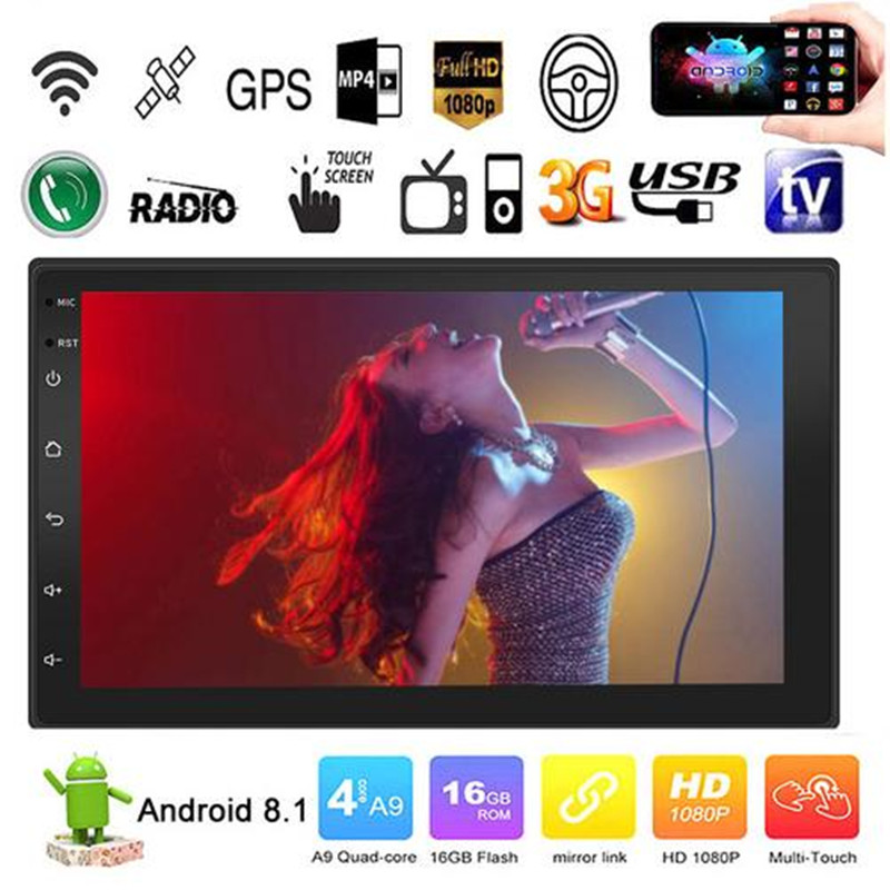 Android 8.1 Quad Cores 7 Inch 2 DIN Touch Screen Car HD MP5 Player Radio BT USB FM GPS WIFI Steering Wheel Control Mirror Link(China)