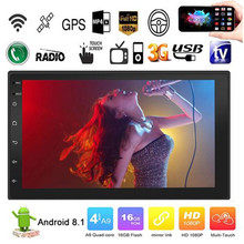 אנדרואיד 8.1 Quad ליבות 7 אינץ 2 דין מגע לרכב מסך HD MP5 נגן רדיו BT USB FM GPS WIFI הגה בקרת מראה קישור