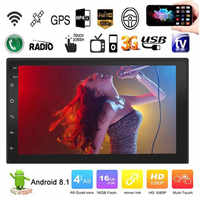 Android 8.1 Quad Cores 7 Inch 2 DIN Touch Screen Car HD MP5 Player Radio BT USB FM GPS WIFI Steering Wheel Control Mirror Link