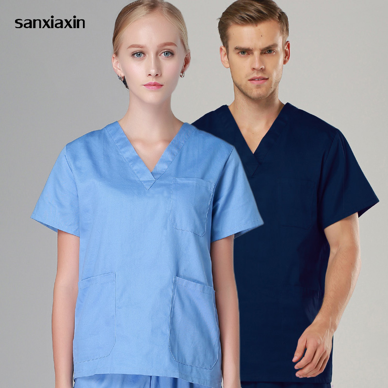Sanxiaxin High Quality Unisex Hospital Doctor Nurse Scrub Top Medical Surgical Uniform Dentist Clinic Pharmacy Veterinar Uniform