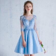 Halbarm Kurze Abendkleider Sexy Durchsichtig Zurück Spitze Blau Abendkleid 2017 Neue