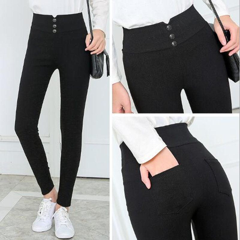WKOUD High Waist Pencil Pants For Women 3 Buttons Black Solid Skinny Leggings Female Casual Trousers Summer Footless P8348