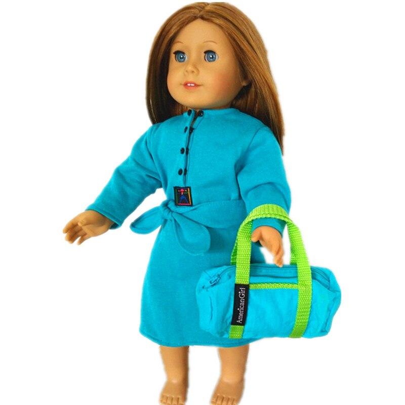 7c6c6c5d0 Vestido azul y bolsa 1 Unidades American Girl Doll ropa para 18 pulgadas  muñeca ropa para niños mejor regalo AB10