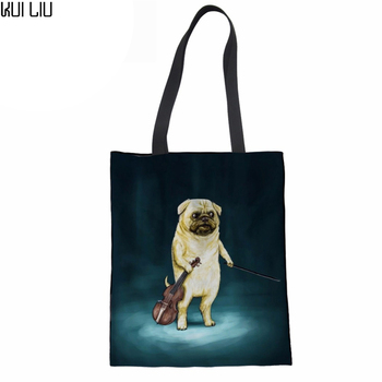 Canvas Tote Bag Women Shoulder Bags 3D Pug Dog Print Girls Reusable Folding Shopping Bag Portable Beach Bolsa Feminina rope canvas print beach bag