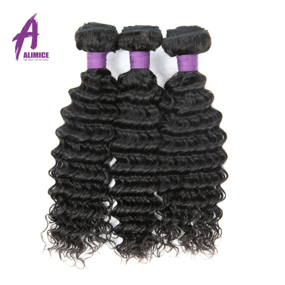Brazilian Deep Wave Bundles Non-Remy Hair 100% Human Hair Weave Bundles Alimice Hair Weaving Extensions Natural Color