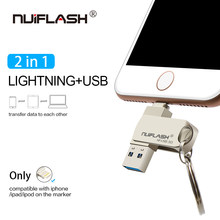 Nuiflash USB Flash Drive Pendrive USB para iPhone Xs Max X 8 7 6 iPad 16/32/64/128 GB Memory Stick USB Relâmpago Chave Pen drive(China)