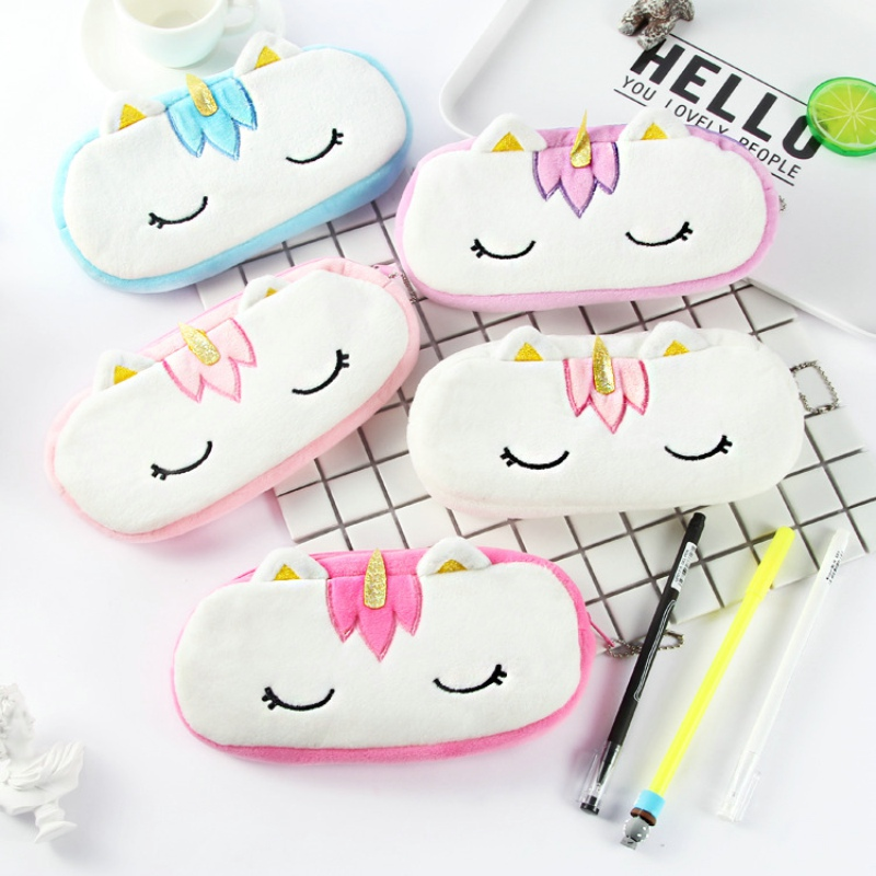 20CM Doll Toy Stuffed Purse Unicorn Plush Pencil Coins Case Wallet Pouch Key Pendant School Supplies Kawaii Gift for Girls image