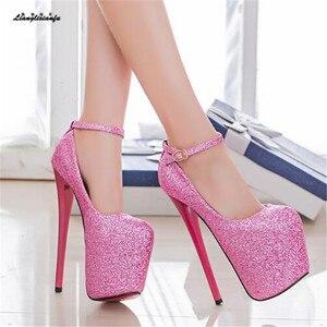 Image 5 - LLXF zapatos Plus: 34 41 42 43 veste Locale Notturno Sexy 19 centimetri scarpe col tacco alto paillette Scarpe donna Tacco A Spillo femminile Fibbia Pompe
