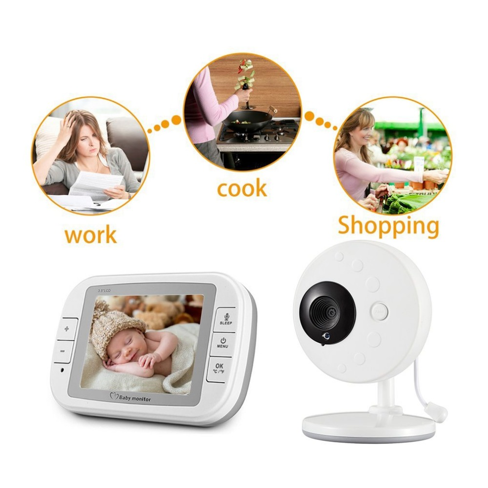 3.5 inch Wireless Video Color Baby Monitor High Resolution Baby Nanny Security Camera Night Vision Temperature Monitoring