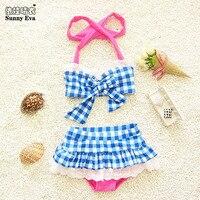 Güneşli eva çocuk mayo kızlar bikini swimwearkids beachwear çocuk kız bikini çekler baskı çocuk mayo kızlar için