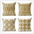 Personalizado Ouro Retro Geométrica Impresso Pillow Cama Almofada Do Sofá de Casa Decorativo Jogar Travesseiro Parágrafo Almofadas Fundas Cojines