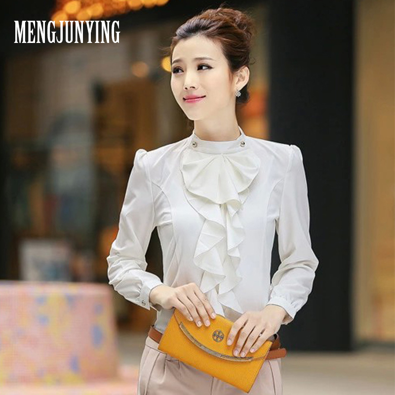 MJY New Casual White Women Blouse Ladies Solid Elegant ruffle Blouses Long Sleeve OL Office Shirt Plus Size blusas clothing 2026