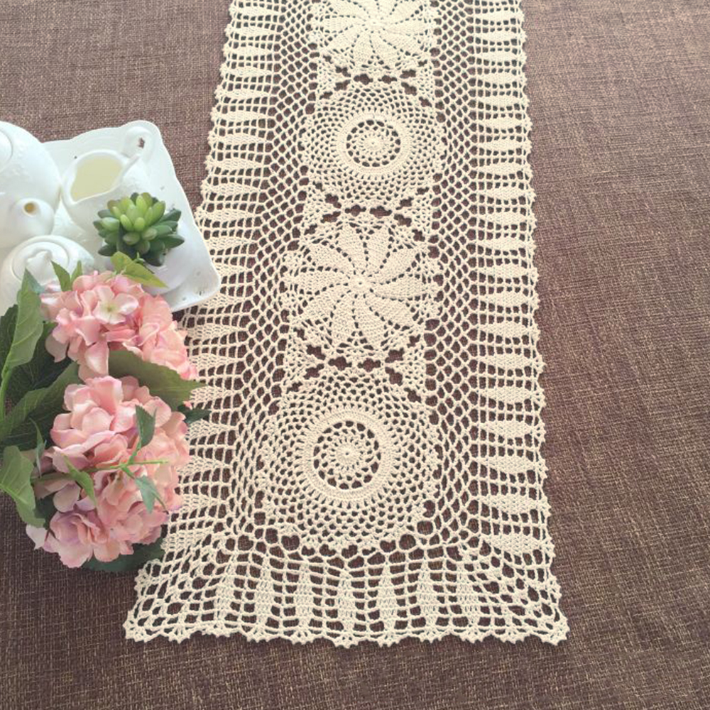 yazi Handmade Cotton Hollow Floral Oval Table Runner Pastoral Floral ...