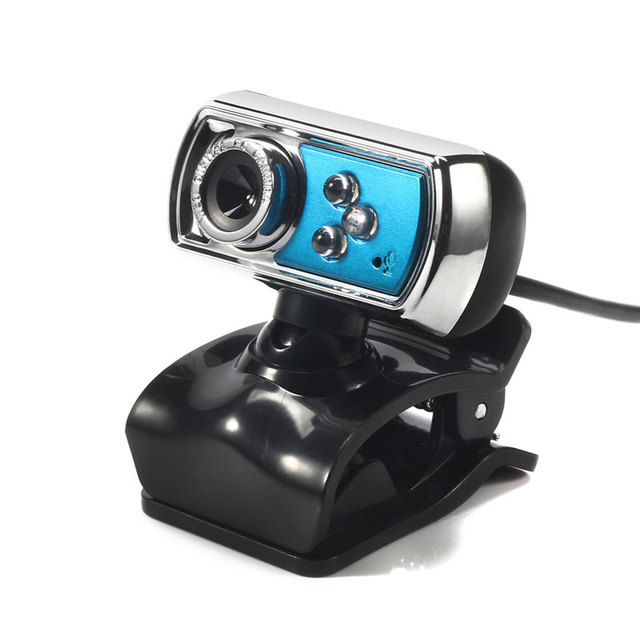 12 MP Webcam HD High-definition 3 LED Webcam USB Camera with Mic  Night Vision for PC Computer Peripherals Blue
