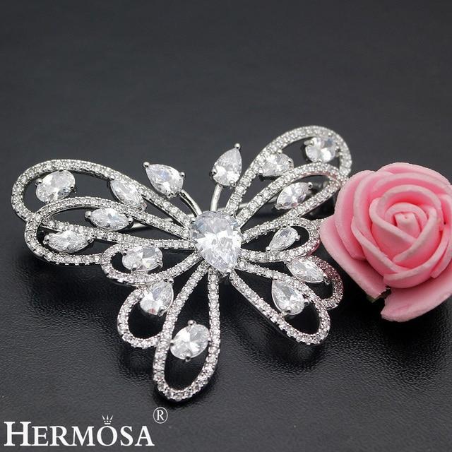 2017 mais recente venda quente brilhante hermosa aaa cz branco do projeto da borboleta pinos broche de casamento nupcial moda jóias