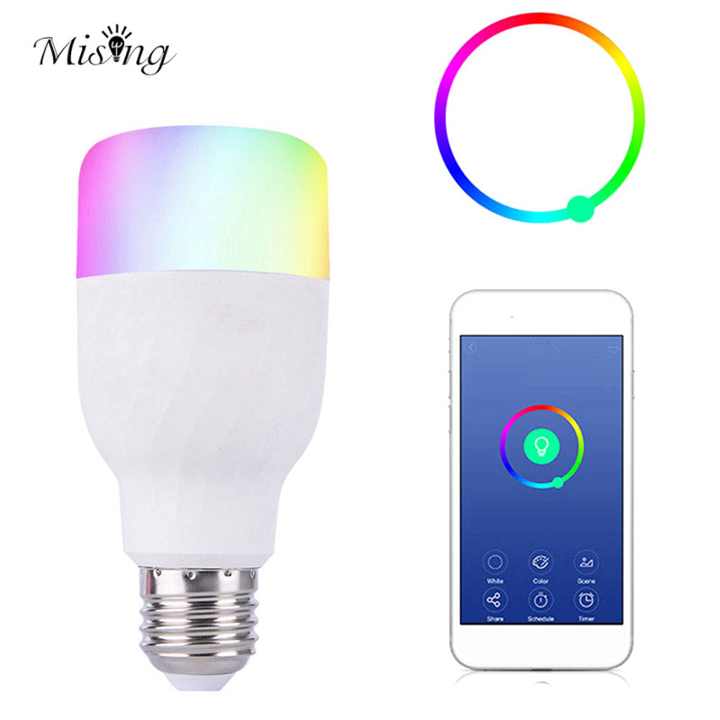 Mising 7W E27 RGBW WIFI Smart LED Light Bulb 21leds Colorful Light Lamp Work With Alexa Home AC85-265V