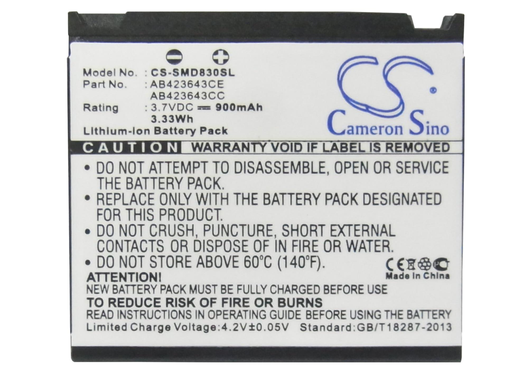 Cameron Sino 900 mAh Batterie SCBAB1, AB423643CE pour Samsung D830, D838, E848, U608, X820, X828, Pour SoftBank 705SC, 707SC, 709SC, 920SC