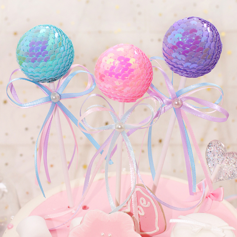 1 PCS new lovely silk ribbon bowknot ball cake topper for birthday cupcake flag baby shower party wedding decoration supplies